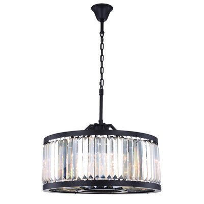Dorinda� 8-Light Drum Pendant Finish: Matte Black, Crystal Color: Clear