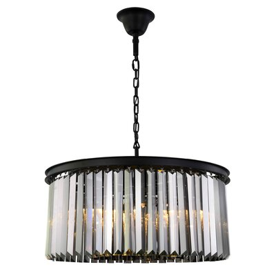 Lavinia 8-Light Drum Pendant Finish: Matte Black, Crystal Color: Gray