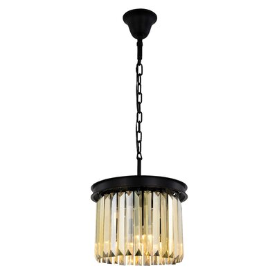 Lavinia 3-Light Drum Pendant Finish: Matte Black, Crystal Color: Smoky