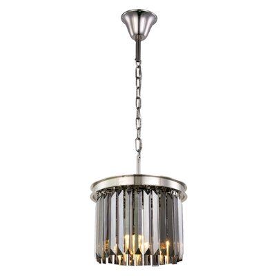 Lavinia 3-Light Drum Pendant Finish: Polished Nickel, Crystal Color: Gray
