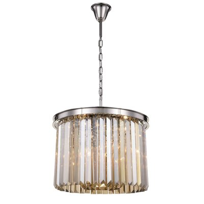 Lavinia 6-Light Drum Pendant Finish: Polished Nickel, Crystal Color: Smoky