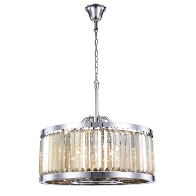 Dorinda� 8-Light Drum Pendant Finish: Polished Nickel, Crystal Color: Smoky