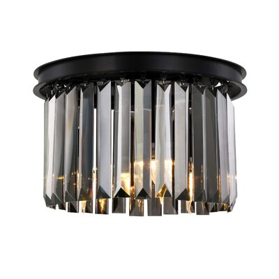 Lavinia 3-Light Flush Mount Fixture Finish: Matte Black, Shade Color: Gray