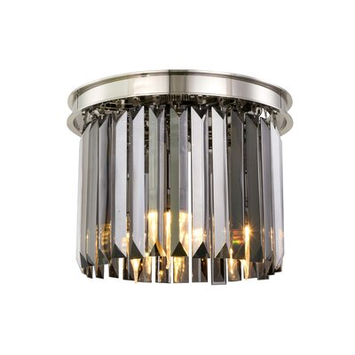 Lavinia 3-Light Flush Mount Fixture Finish: Polished Nickel, Shade Color: Gray