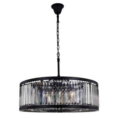 Dorinda�10-Light Drum Pendant Finish: Matte Black, Crystal Color: Gray