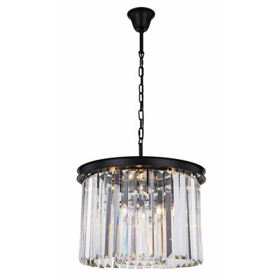 Lavinia 6-Light Drum Pendant Finish: Matte Black, Crystal Color: Clear
