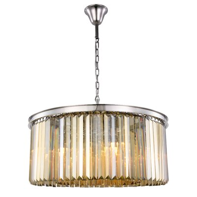 Lavinia 8-Light Drum Pendant Finish: Polished Nickel, Crystal Color: Smoky