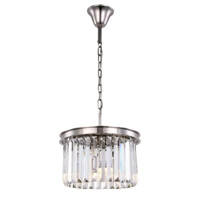 Lavinia 3-Light Drum Pendant Finish: Polished Nickel, Crystal Color: Clear