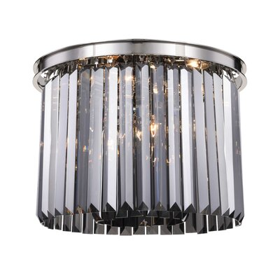 Lavinia 6-Light Flush Mount Fixture Finish: Polished Nickel, Shade Color: Gray