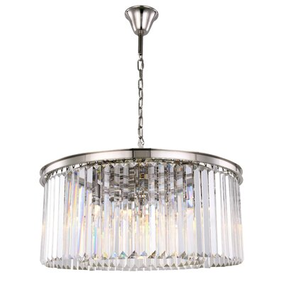 Lavinia 8-Light Drum Pendant Finish: Polished Nickel, Crystal Color: Clear