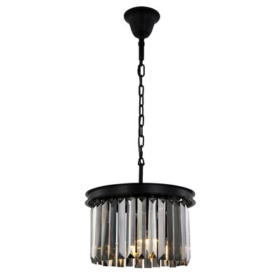 Lavinia 3-Light Drum Pendant Finish: Matte Black, Crystal Color: Gray