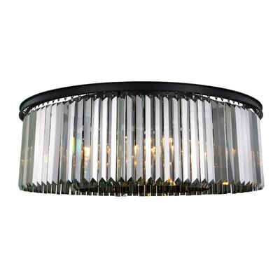 Lavinia 10-Light Flush Mount Fixture Finish: Matte Black, Shade Color: Gray