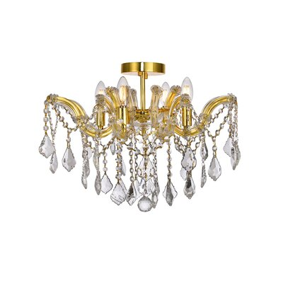 Regina 4-Light Semi Flush Mount Fixture Finish: Gold, Crystal Type: Royal Cut