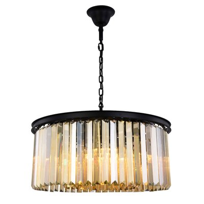 Lavinia 8-Light Drum Pendant Finish: Matte Black, Crystal Color: Smoky
