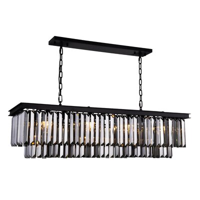 Lavinia 12-Light Kitchen Island Pendant Finish: Matte Black, Crystal Color: Gray