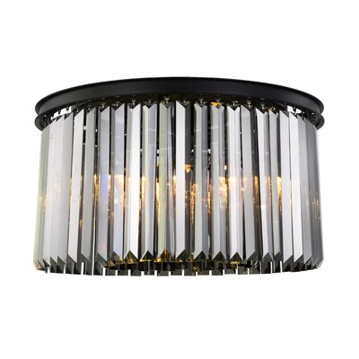 Lavinia 8-Light Flush Mount Fixture Finish: Matte Black, Shade Color: Gray