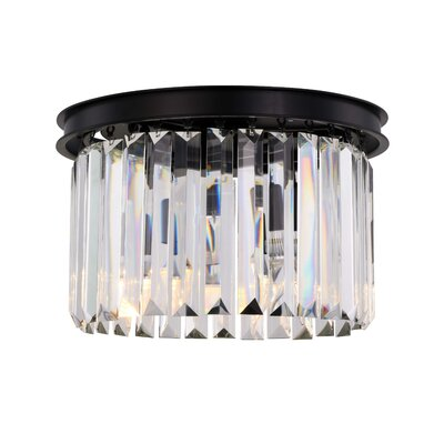 Lavinia 3-Light Flush Mount Fixture Finish: Matte Black, Shade Color: Clear