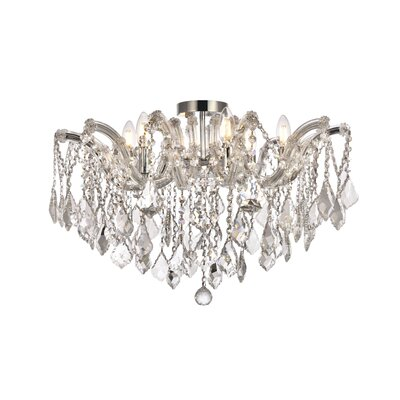Regina 6-Light Semi Flush Mount Fixture Finish: Chrome, Crystal Type: Swarovski Elements