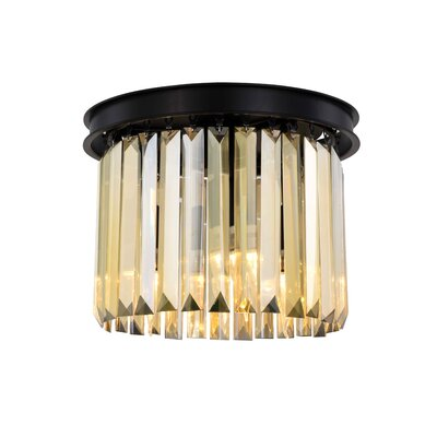 Lavinia 3-Light Flush Mount Fixture Finish: Matte Black, Shade Color: Smoky