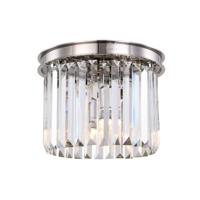 Lavinia 3-Light Flush Mount Fixture Finish: Polished Nickel, Shade Color: Clear