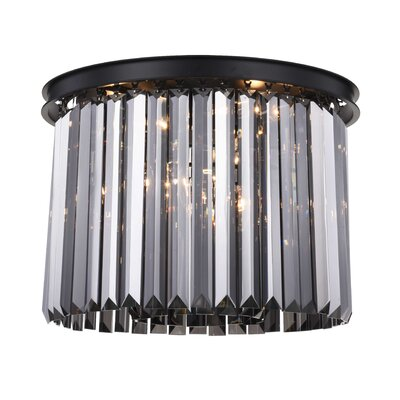 Lavinia 6-Light Flush Mount Fixture Finish: Matte Black, Shade Color: Gray