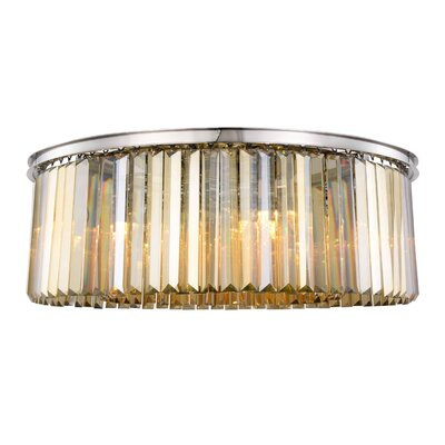 Lavinia 10-Light Flush Mount Fixture Finish: Polished Nickel, Shade Color: Smoky