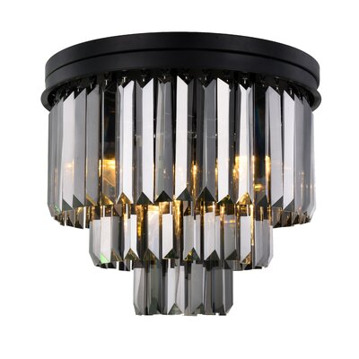 Lavinia 9-Light Flush Mount Fixture Finish: Matte Black, Shade Color: Gray