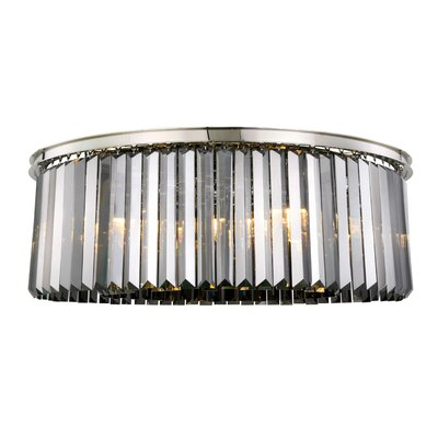 Lavinia 10-Light Flush Mount Fixture Finish: Polished Nickel, Shade Color: Gray