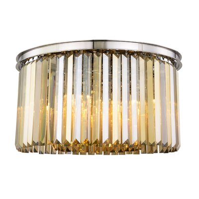 Lavinia 8-Light Flush Mount Fixture Finish: Polished Nickel, Shade Color: Smoky