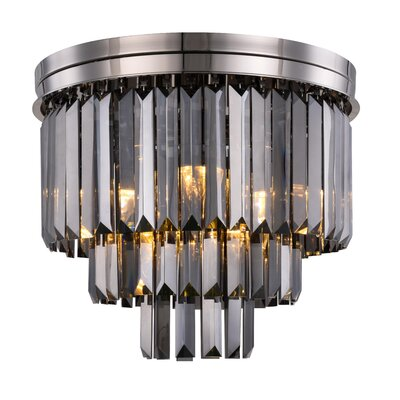 Lavinia 9-Light Flush Mount Fixture Finish: Polished Nickel, Shade Color: Gray