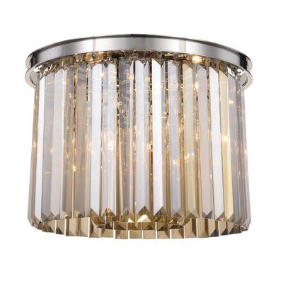 Lavinia 6-Light Flush Mount Fixture Finish: Polished Nickel, Shade Color: Smoky
