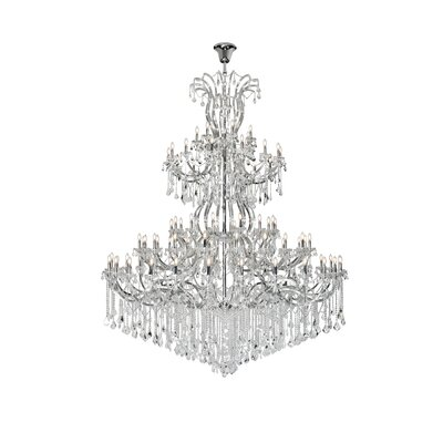 Regina 84-Light Empire Chandelier Finish: Chrome, Crystal Type: Elegant Cut