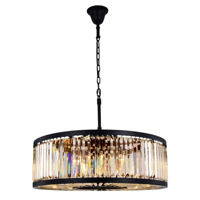 Dorinda�10-Light Drum Pendant Finish: Matte Black, Crystal Color: Smoky