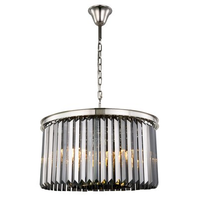 Lavinia 8-Light Drum Pendant Finish: Polished Nickel, Crystal Color: Gray