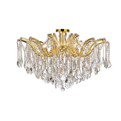 Regina 8-Light Semi Flush Mount Fixture Finish: Gold, Crystal Type: Swarovski Spectra