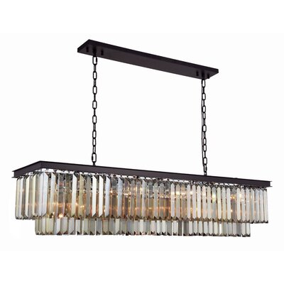 Lavinia 12-Light Kitchen Island Pendant Finish: Matte Black, Crystal Color: Smoky