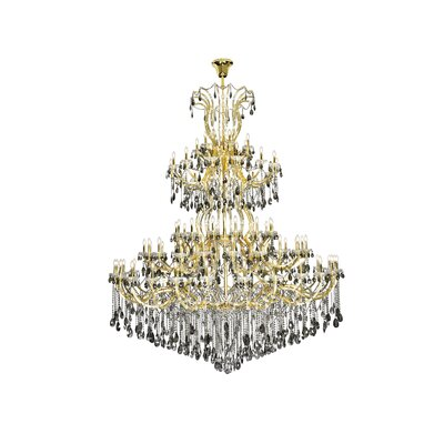 Regina 84-Light Empire Chandelier Finish: Gold, Crystal Color: Gray, Crystal Type: Royal Cut