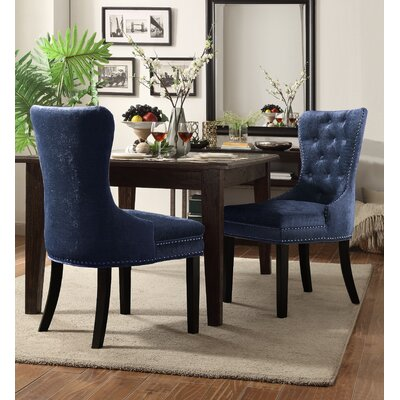 Loganne Upholstered Dining Chair Upholstery Color: Blue