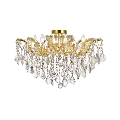 Regina 6-Light Semi Flush Mount Fixture Finish: Gold, Crystal Type: Royal Cut
