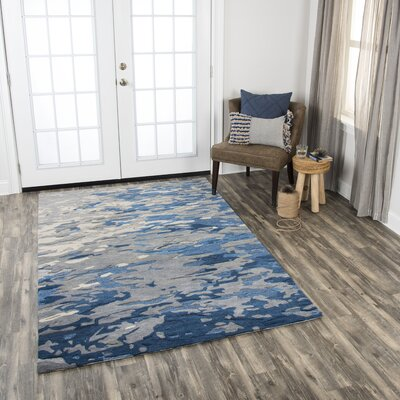 Greco Hand-Tufted Wool Blue Area Rug Rug Size: Rectangle 5 x 8