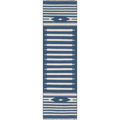 Thompson Billings Hand-Woven Wool Denim Area Rug Rug Size: Runner 23 x 8