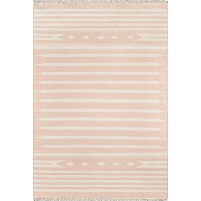 Thompson Billings Hand-Woven Wool Pink Area Rug Rug Size: Rectangle 76 X 96