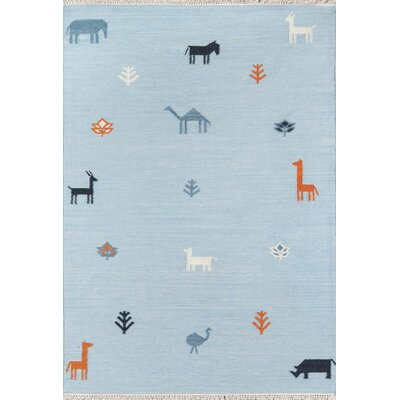 Thompson Porter Hand-Woven Wool Blue Area Rug Rug Size: Rectangle 36 X 56