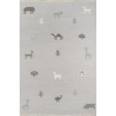 Thompson Porter Hand-Woven Wool Grey Area Rug Rug Size: Rectangle 76 X 96