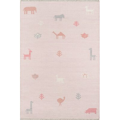 Thompson Porter Hand-Woven Wool Pink Area Rug Rug Size: Rectangle 5 X 76