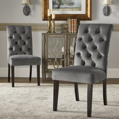 Pompon Rolled Top Tufted Upholstered Dining Chair Upholstery Color: Gray