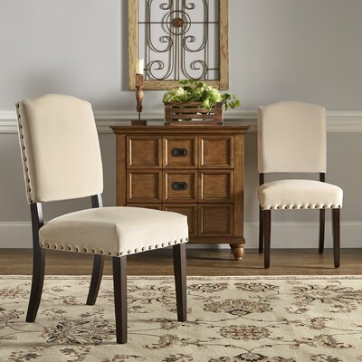 Pompon Velvet Nailhead Upholstered Dining Chair Upholstery Color: Beige