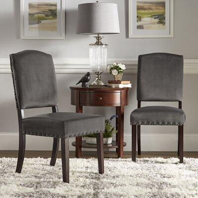 Pompon Velvet Nailhead Upholstered Dining Chair Upholstery Color: Dark Gray