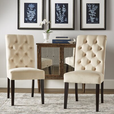 Pompon Rolled Top Tufted Upholstered Dining Chair Upholstery Color: Beige