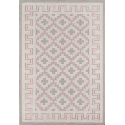 Thompson Brookline Hand-Woven Wool Pink Area Rug Rug Size: Rectangle 36 x 56
